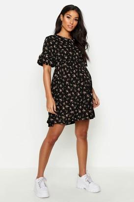 boohoo Maternity Floral Frill Sleeve Smock Dress