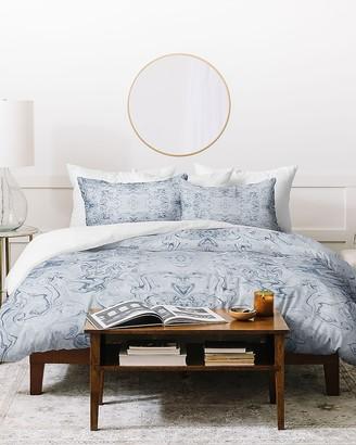 Express Deny Designs Steely Blue Marble Kali Duvet Cover Set