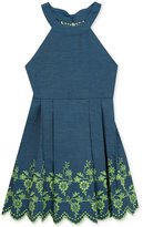 Rare Editions Denim Fit and Flare Cotton Dress, Big Girls (7-16)