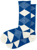 Burberry Merino Wool Argyle Check Socks, Cobalt
