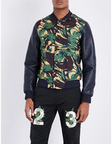 Off-white C/o Virgil Abloh Camouflage-print Cotton And Leather Bomber Jacket