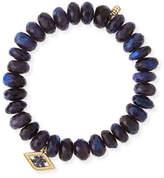 Sydney Evan Beaded Spectralite Bracelet with Diamond & Sapphire Flower Eye Charm