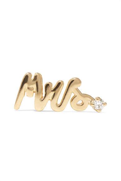 Alison Lou Mrs 14-karat Gold Diamond Earring