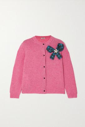 Miu Miu Bow-detailed Embellished Wool Cardigan - Pink