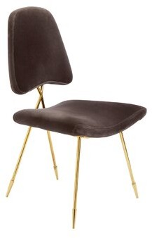 Jonathan Adler Maxime Cotton Upholstered Side Chair in Charcoal