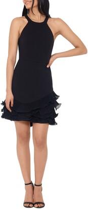 Betsy & Adam Ruffle Hem Chiffon Dress