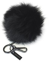 Soia & Kyo MAYLEE Fur pompom on lustrous key ring in Black