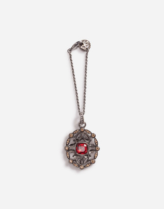 Dolce & Gabbana Metal Pendant With Colored Rhinestone