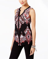 INC International Concepts Printed Split-Neck Top, Only at Macy's