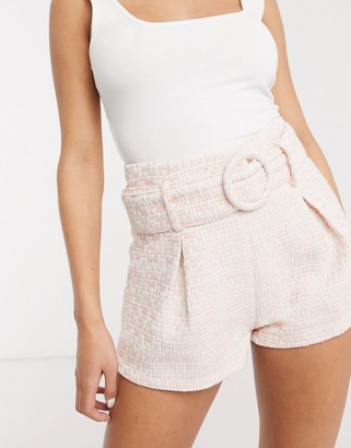 Saint Genies boucle pleat detail shorts in pink fleck