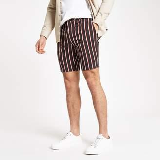 River Island Mens Navy stripe slim fit chino shorts