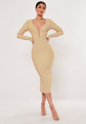 Missguided Premium Champagne Bandage Cup Detail Midi Dress