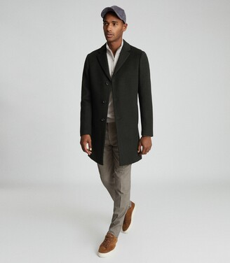 Reiss Gable - Wool-blend Epsom Overcoat in Dark Green