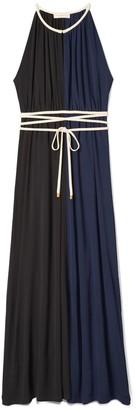 Tory Burch Color-Block Tie-Waist Maxi Dress