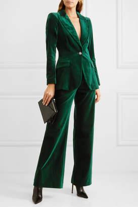 Temperley London Clove Velvet Wide-leg Pants - Dark green