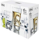 Libbey Set of 16 Geo Tall and Short Glasses