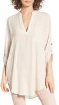 Lush Women's Perfect Roll Tab Sleeve Tunic