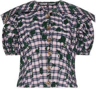 Chopova Lowena Flounce flocked check blouse
