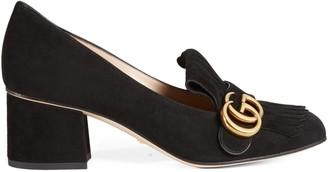 Gucci Suede mid-heel pump