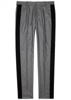 Alexander Mcqueen Grey Velvet-trimmed Wool Trousers