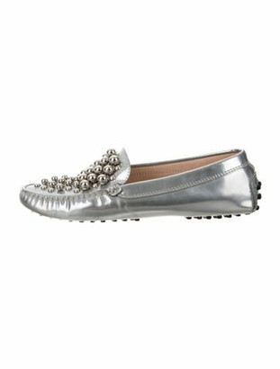 Tod's Metallic Leather Embellished Loafers Silver