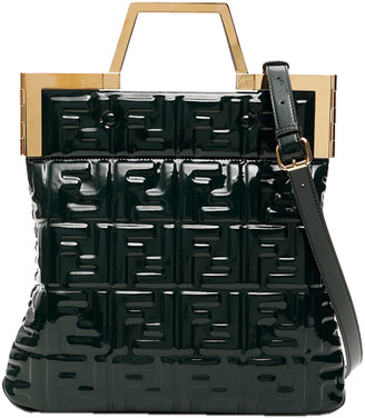 Fendi Dark Green Shiny Vinyl Flat Tote Bag