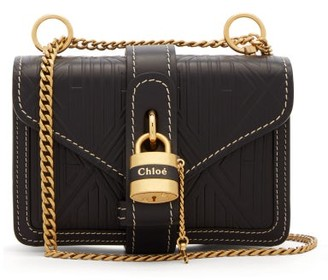 Chloé Aby Mini Embossed-leather Shoulder Bag - Womens - Navy