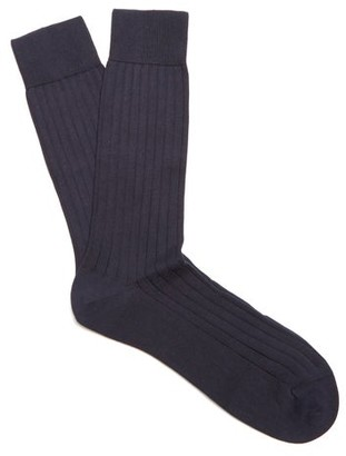 Pantherella Pembrey Cotton Blend Socks - Mens - Navy