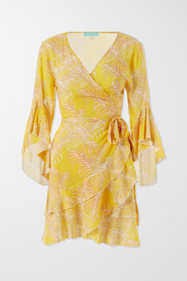 Melissa Odabash Kirsty Ruffled Printed Voile Wrap Mini Dress - Yellow