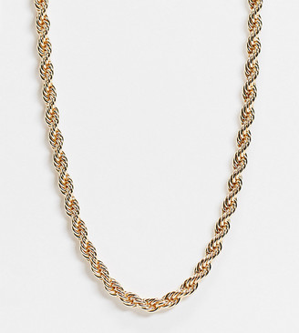 ASOS DESIGN Curve necklace in 7mm rope chain in gold tone