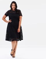 Lace Cap Sleeve Midi Dress