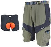 ARSUXEO Men's Short Attack Loose Breathable Shorts for Cycling Hiking Camping with Belt