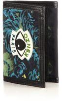 Kenzo Leather-Trim Tiger-Print Change Wallet
