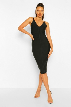 boohoo Tall Bandage V-Neck Bodycon Midi Dress