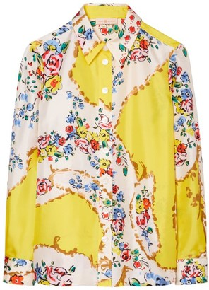 Tory Burch Floral Print Silk Top