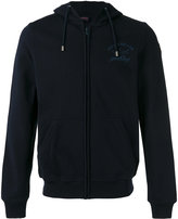 Paul & Shark logo print zipped hoodie