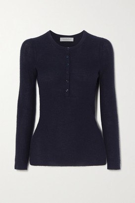 Gabriela Hearst Julian Ribbed Cashmere And Silk-blend Top - Navy