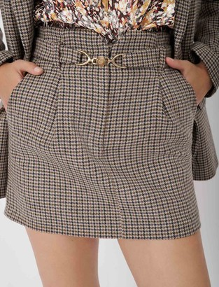 Maje Short checked skirt with belt