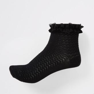 River Island Girls Black lace socks 2 pack