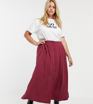 Asos DESIGN Curve box pleat midi skirt with button front and splits