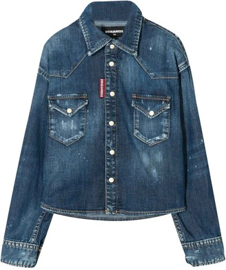 DSQUARED2 Denim Shirt With Curved Hem