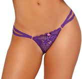 Seven Til Midnight SEVEN 'TIL MIDNIGHT Women's Olivia Open Crotch Thong with Gold Details