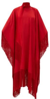 Taller Marmo Mrs. Ross Fringed Crepe Kaftan - Red