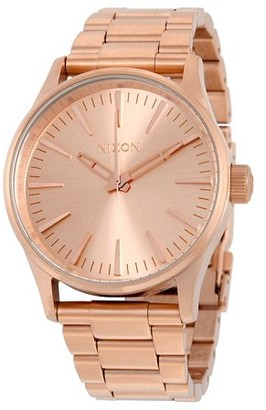 Nixon Men's Sentry 38 Rose Gold-Tone Stainless Steel Unisex Watch A450897