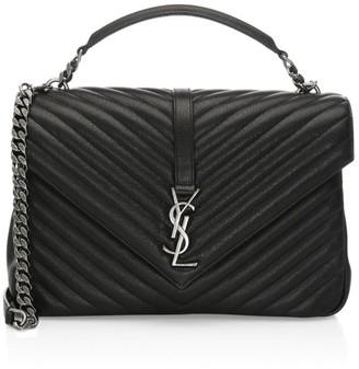 Saint Laurent Large College Matelasse Leather Bag