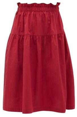 Araks Ulu Ruffled Cotton Skirt - Womens - Burgundy