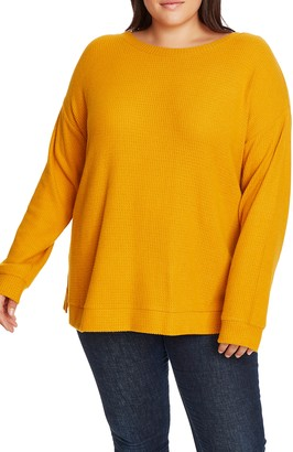 1 STATE Crossback Brushed Waffle Knit Top