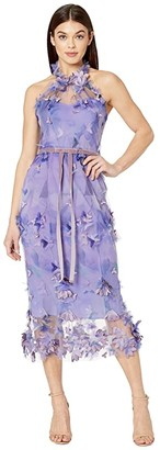 Marchesa Sleeveless Printed Tulle Halter Cocktail (Lilac) Women's Dress