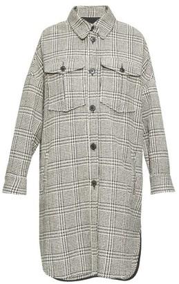 Etoile Isabel Marant Obira Houndstooth Shirt Coat - Womens - Dark Grey
