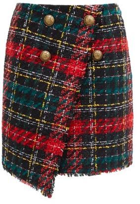 Balmain High-rise Buttoned Tweed Mini Skirt - Black Multi